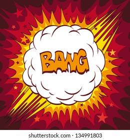 Comic book explosion boom, vector illustration
