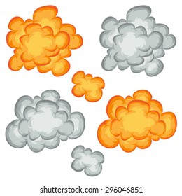 Comic Book Explosion, Clouds And Smoke Set/ Illustration of a set of comic book explosion, blast and cartoon fire bomb, bang and exploding symbols