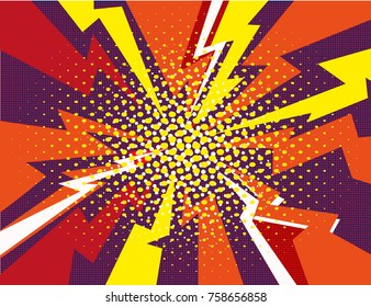 Comic book explosion ray red yellow purple background vector illustration art