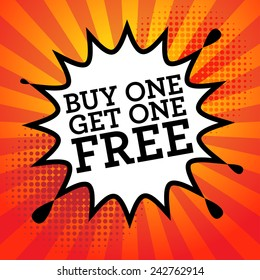 Comic book explosion with text Buy One, Get One Free, vector illustration