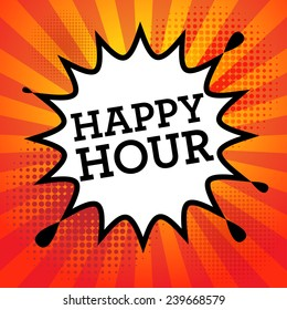 Comic book explosion with text Happy Hour, vector illustration