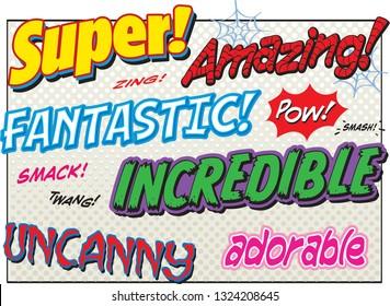 Comic book font power words super fantastic amazing incredible