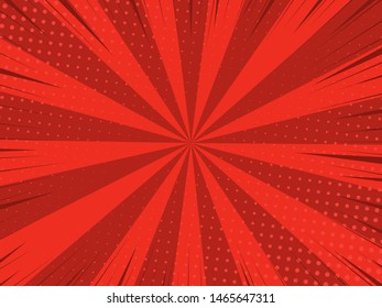 Comic book halftone effect template with radial red background, vector illustration eps 10.