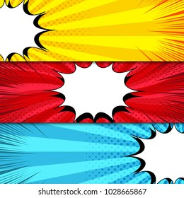Comic book horizontal banners with white speech bubbles and halftone rays radial dotted effects in yellow red blue colors. Vector illustration