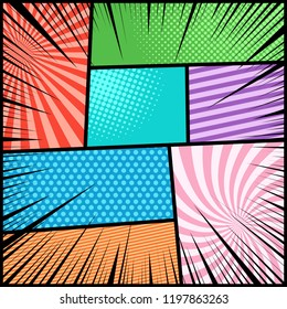 Comic book light background with slanted lines radial halftone dotted humor effects and black rays. Vector illustration