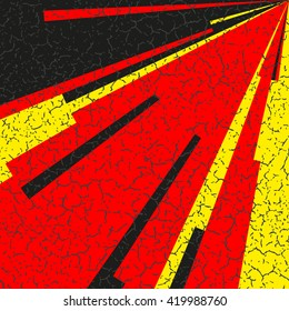 Comic book lines background. Rays from the corner of square. Explosion with speed lines. Cracked manga speed frame. The cracks texture. Square stamp. Red, yellow, black colors. Vector illustration.