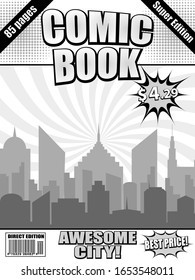 Comic book monochrome cover template with cityscape wordings speech bubbles halftone and radial humor effects. Vector illustration