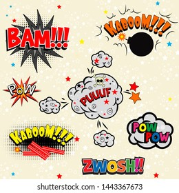 Comic book with onomatopoeia - vector