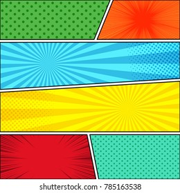 Comic book page background with explosive and humor effects in different bright colors. Vector illustration