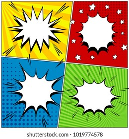 Comic book page background with four colorful scenes blank white speech bubbles sound halftone and radial effects in pop-art style. Vector illustration