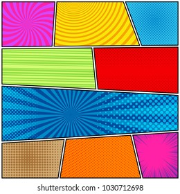 Comic book page background with halftone rays dotted radial circles striped effects in bright colors in pop-art style. Vector illustration