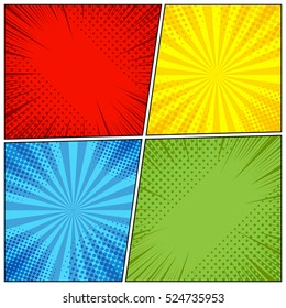 Comic book page background with radial, halftone effects and rays in pop-art style. Blank template in green, yellow, blue and red colors. Vector illustration