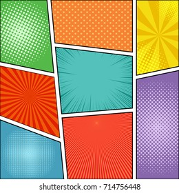 Comic book page background with rays, radial, dotted and halftone effects in different colors. Blank template. Vector illustration