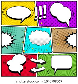 Comic book page background with white speech bubbles arrows exclamation points sound halftone rays dotted and radial effects in pop-art style. Vector illustration