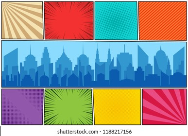 Comic book page colorful background with day modern city silhouette radial ray halftone stripes humor effects. Vector illustration
