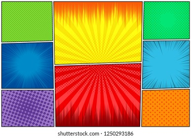 Comic book page colorful background with halftone rays dotted radial slanted lines humor effects. Vector illustration