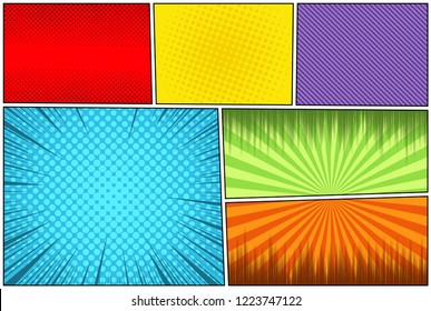 Comic book page colorful composition with rays halftone radial slanted lines humor effects. Vector illustration