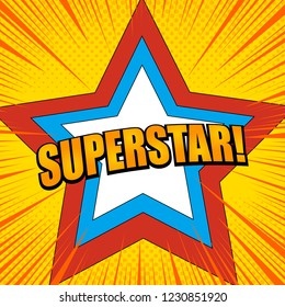 Comic book page colorful super concept with orange Superstar wording colorful stars halftone and rays effects. Vector illustration