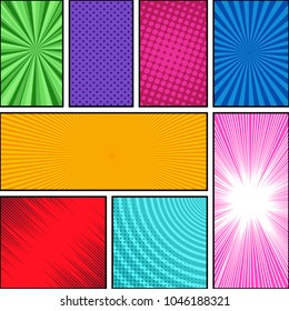 Comic book page composition with halftone dotted rays circles radial bright effects in different colors. Blank template. Vector illustration