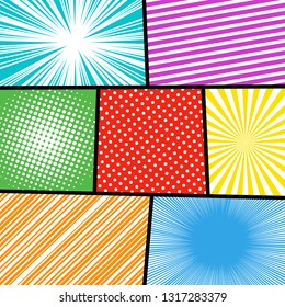 Comic book page light composition with radial rays slanted lines halftone humor effects in different bright colors and black dividing lines. Vector illustration