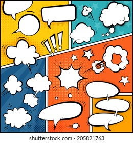 Comic Book Page Mock-Up. Set of Speech Bubbles and Halftone Backgrounds.