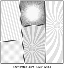 Comic book page monochrome design template with radial rays halftone humor effects. Vector illustration