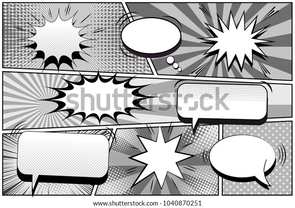 Comic Book Page Monochrome Retro Template Stock Vector (Royalty Free