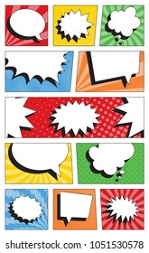 comic book page template with colorful panels. speech bubbles on backgrounds with halftone dots and radial lines
