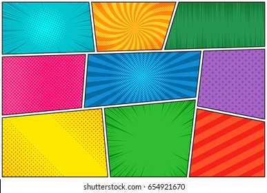 Comic book page template of colorful frames divided by lines with rays, radial, halftone, and dotted effects in pop art style. Vector illustration