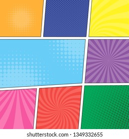 Comic book page template, with multicolored radial fun effects, vector illustration