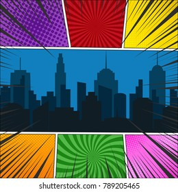Comic book page template with night cityscape, radial, rays and halftone effects in different colors. Pop-art style. Vector illustration