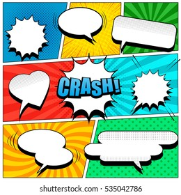Comic book page template in pop-art style. Colorful background with speech bubbles, balloons, sound, radial, dotted and halftone effects