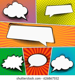 Comic book page template in pop-art style. Colorful background with speech bubbles, balloons, sound, radial, dotted and halftone effects.