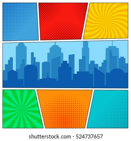 Comic Book Page Template With Radial Backgrounds Halftone Effects And City Silhouette In Pop