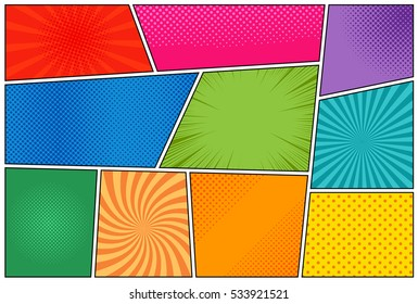 Comic book page template with radial halftone effects and rays in pop-art style. Colorful empty background. Vector illustration