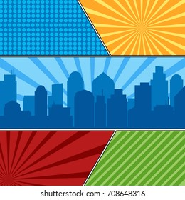 Comic book page template with radial backgrounds and city silhouette. Colorful vector backgrounds in pop-art style