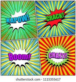 Comic book page templates set with colorful Kapow Crack Boom Crazy inscriptions radial halftone rays effects in bright colors. Vector illustration