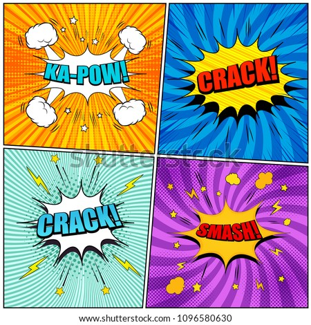 Comic Book Pages Set Colorful Kapow Stock Vector Royalty Free
