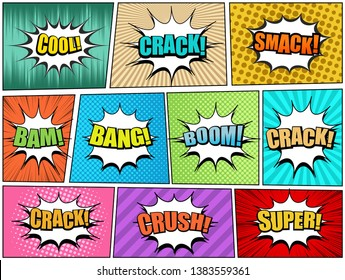 Comic book pages set with Crack Smack Cool Bam Bang Boom Super Crush wordings white speech bubbles and different humor effects. Vector illustration