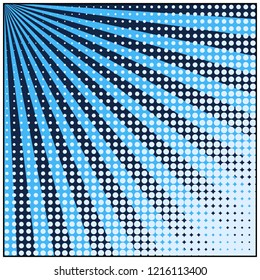 Comic book pop art retro background with halftone dots and radial rays. Vector illustration of blue background.