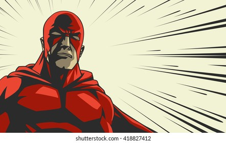 Comic book red stylized superhero Cry face on radial lines square background Print vector illustration