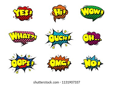Comic book sound effect speech bubbles with halftone, marveling expressions. Yes, Hi, Wow, What, Ouch, Oh, Oops, OMG, No. EPS 10