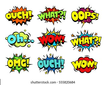 Comic book sound effect speech bubbles, marveling and enjoying expressions