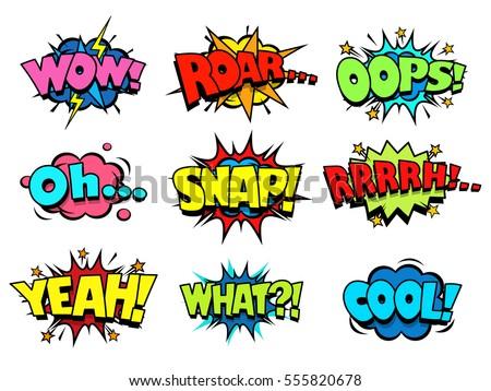 comic book sound effect speech bubbles のベクター画像素材