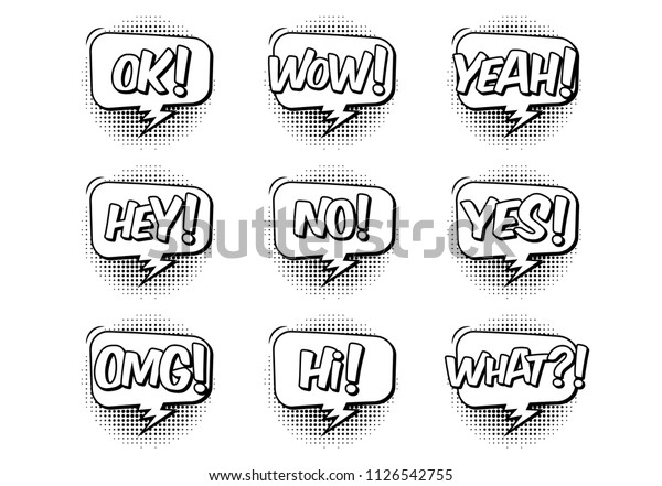 Comic Book Sound Effect Speech Bubbles Stock Vector (Royalty Free