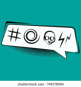 Comic book speech bubble with swear words symbols retro comics vector illustration.