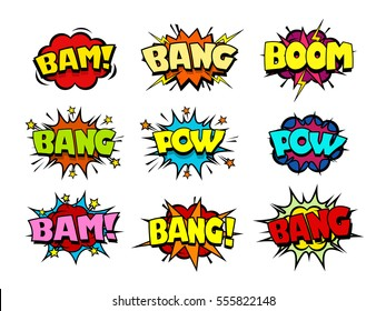 Comic book speech bubbles, cool blast and crash sound effects