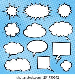 Comic book speech bubbles on a halftone background. Vector format.
