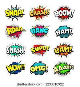 Comic book speech bubbles set, cool blast and crash sound effect, halftone print texture imitation
