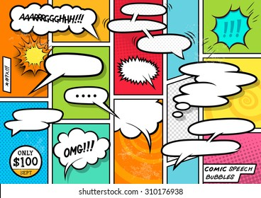 Comic Book Speech Bubbles vector set.